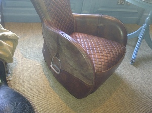 Leather chair complete with stirrups - Why?