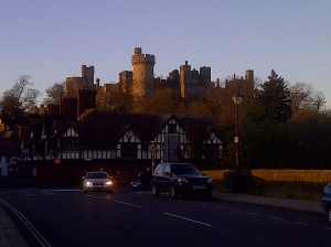 The sun sets over Arundel Castle
