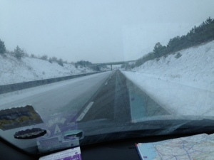 snow on french motorway