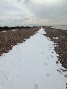 snow in the beach
