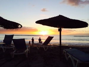 sun goes down over the sea in Tenerife