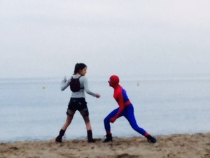 The normal workaday scene one sees in Cannes. Spiderman and Lara Croft fight it on the beach