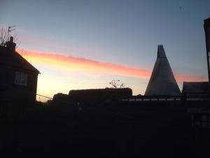 sun sets over Arundel