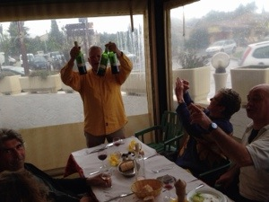 Roly Bufton celebrates not havig to have this blog read to him at breakfast by minesweeping the Auberge St Donat